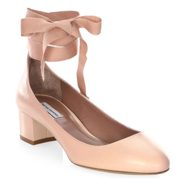 Tabitha Simmons chloe leather ankle-wrap block heel pumps in nude - Ladylike leather pumps with wraparound grosgrain ties....