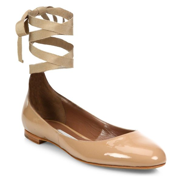 Tabitha Simmons daria patent leather ankle-wrap ballet flats in flesh patent - Polished patent flat updated with feminine ankle ties....