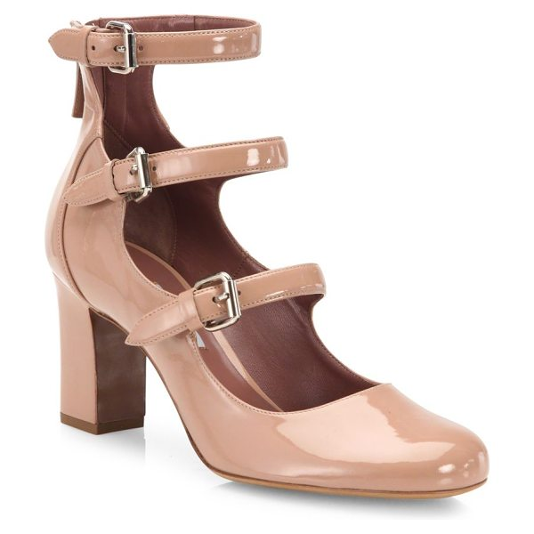 TABITHA SIMMONS ginger triple-strap patent leather mary jane pumps in nude - Trio of buckled straps update patent Mary Jane pump....