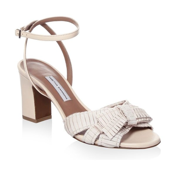 Tabitha Simmons grosgrain ribbon sandals in roseflesh - Pleated grosgrain bow adorns pretty heels. Block heel,...