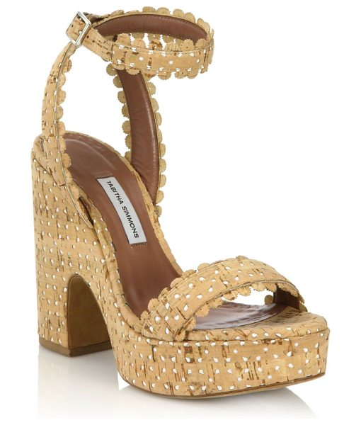 Tabitha Simmons Harlow perforated cork platform sandals in natural - Chic perforated cork sandal with scalloped...
