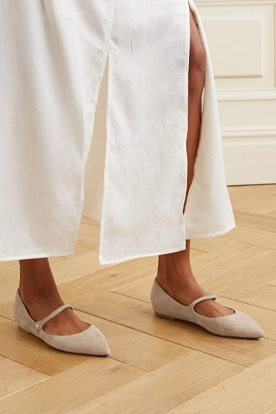 Tabitha Simmons hermione suede point-toe flats in beige