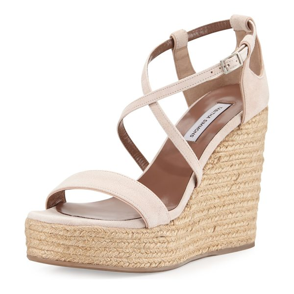 Tabitha Simmons Jenny suede espadrille wedge sandal in nude - Tabitha Simmons kid suede sandal, detailed with cutouts...