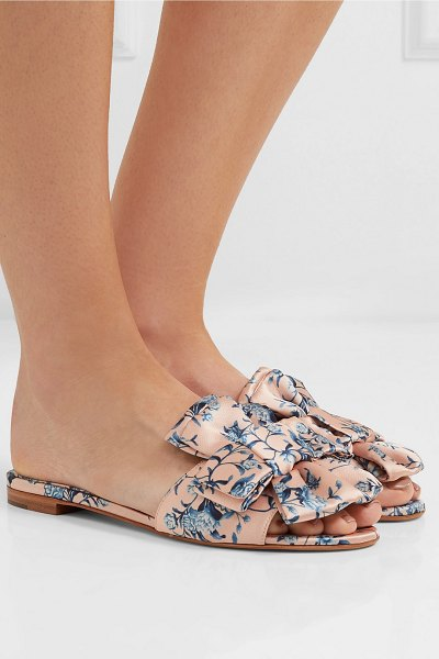 Tabitha Simmons johanna ortiz camilla bow-embellished floral-print satin slides in pink
