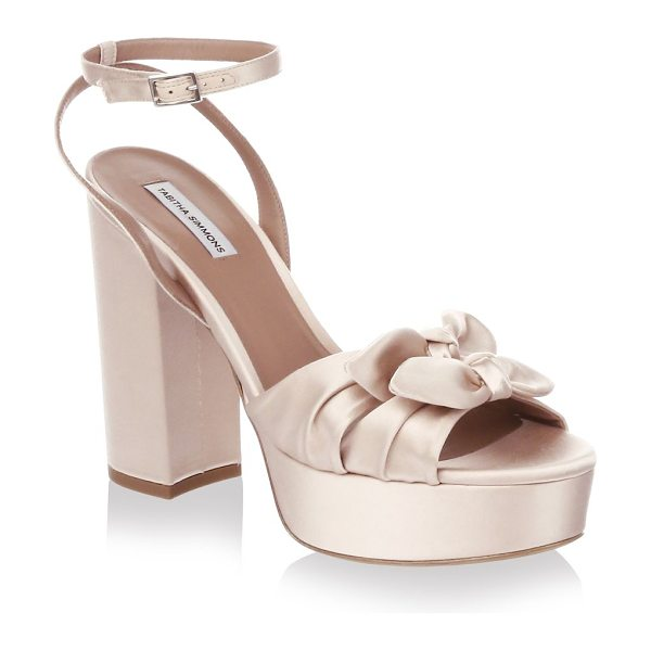 Tabitha Simmons knot satin platform sandals in rose