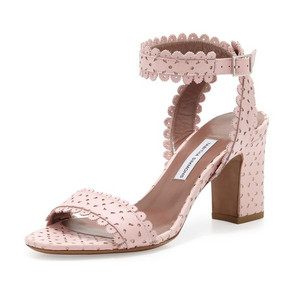 Tabitha Simmons Leticia scalloped chunky low-heel sandal in blush