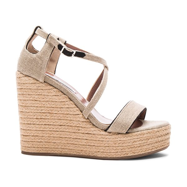 Tabitha Simmons Linen jenny wedges in neutrals - Linen fabric upper with rubber sole.  Made in Italy. ...