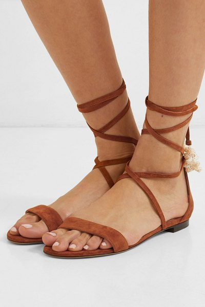 Tabitha Simmons nellie embellished suede sandals in tan