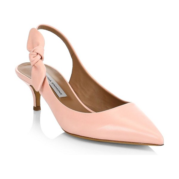 Tabitha Simmons rise leather slingback pumps in pink - Sleek leather pumps secured with bow-accented strap....