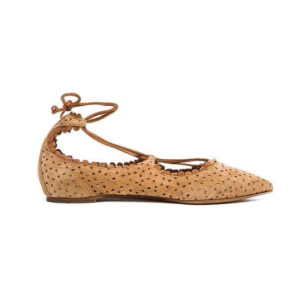 Tabitha Simmons Suede willa flats in neutrals - Perforated suede upper with leather sole.  Made in...