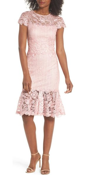 TADASHI SHOJI alice flounce hem lace dress in rose quartz - Exquisite corded lace stands out against the tulle of a...