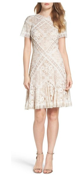 Tadashi Shoji aurore fit & flare dress in white/ petal - Delicate floral lace with scalloped edges graces this...