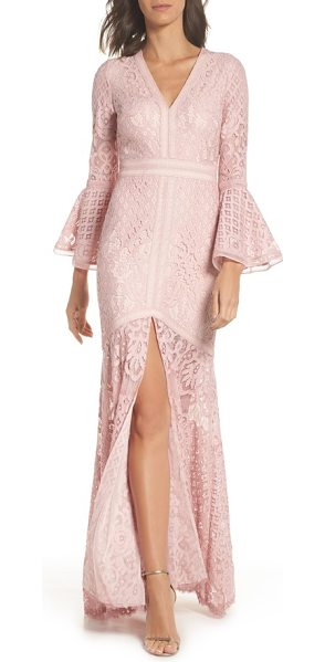 TADASHI SHOJI bell sleeve lace gown in rose quartz - Make a statement when you enter any room in this...