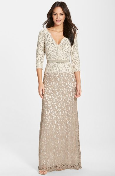 Tadashi Shoji belted lace gown in latte/ pumice