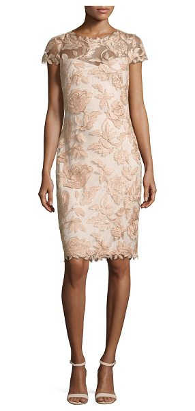Tadashi Shoji Cap Sleeve Embroidered Metallic Cocktail Dress