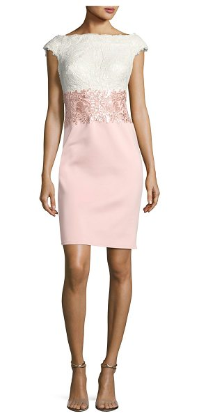 Tadashi Shoji Cap-Sleeve Lace Sequined-Waist Combo Cocktail Dress in pink pattern - Tadashi Shoji two-tone cocktail dress combines lace and...