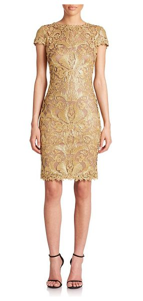 Tadashi Shoji Cord-embroidered lace cocktail dress in gold - A veritable work of art, this cocktail dress features...