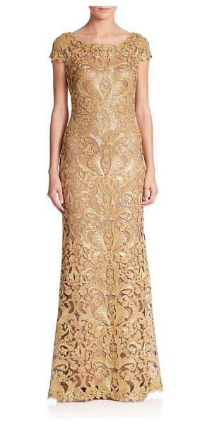 Tadashi Shoji cord lace cap sleeve gown in gold-nude - Cap sleeve gown featuring embroidered lace design....