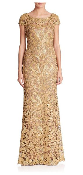 Tadashi Shoji cord lace cap sleeve gown in gold nude - Floor-length gown with an embroidered lace design....