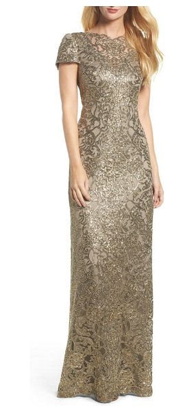 Tadashi Shoji corded lace gown in smoke pearl - When the occasion calls for all-out glamour, a...