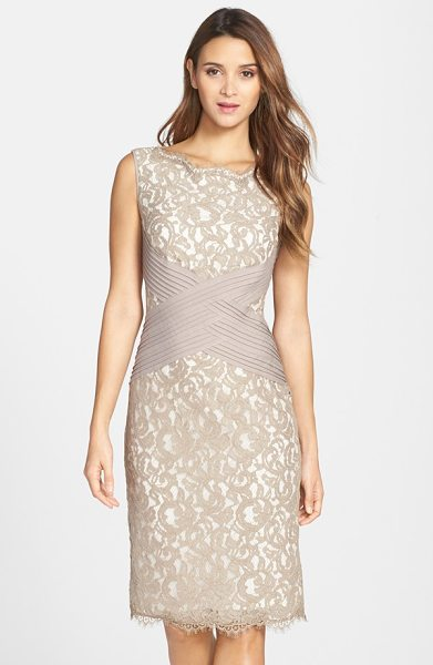 TADASHI SHOJI crisscross waist lace sheath dress in pumice latte - Pleated bands intersect at the waist of a lace cocktail...