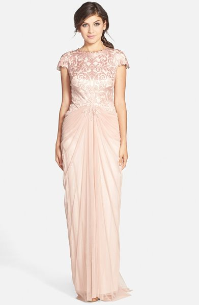 Tadashi Shoji cutout bodice & tulle skirt gown in pink shadow - Exquisite satin cutwork spans the bodice and cap sleeves...