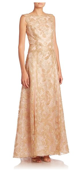 Tadashi Shoji embellished floral fit-&-flare gown in light gold - Dazzling floral adornments on a fit-and-flare style....