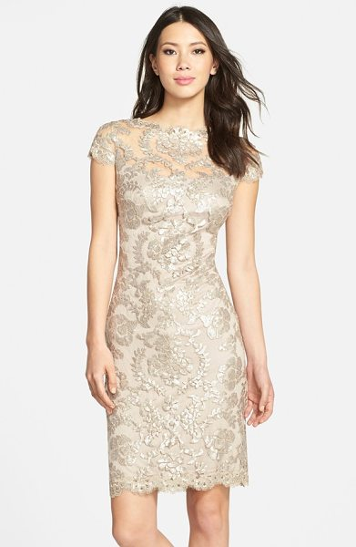 TADASHI SHOJI embellished metallic lace sheath dress - The always-chic bateau-neck sheath is elevated to...