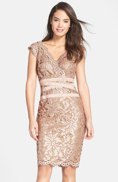 TADASHI SHOJI sequin lace sheath dress in ginseng/ nude - Luminous sequins and metallic threads highlight the...