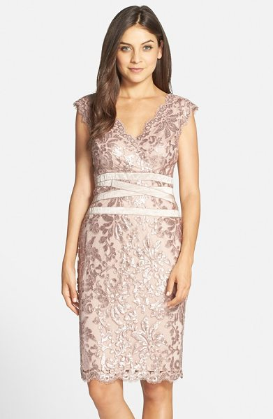 Tadashi Shoji sequin lace sheath dress in dusty rose