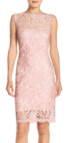 TADASHI SHOJI embroidered lace sheath dress in primrose - Intricate embroidery creates gorgeous floral designs all...