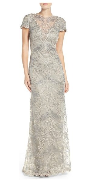 Tadashi Shoji embroidered gown in light pearl - Shimmery embroidery over wispy mesh flows with this...