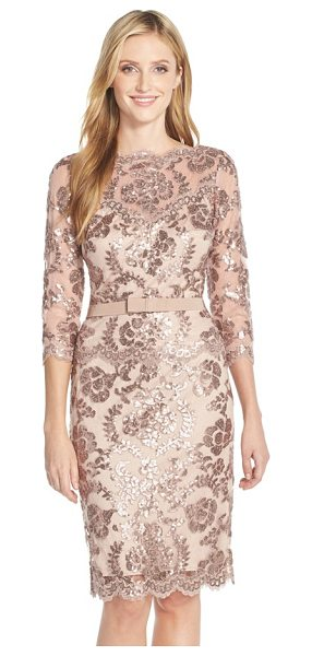 TADASHI SHOJI embroidered lace belted dress in dusty rose - The always-chic bateau-neck sheath is elevated to...