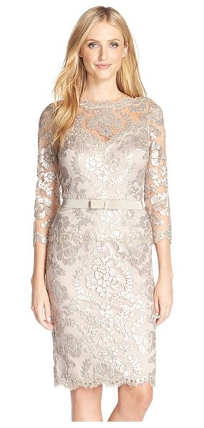 TADASHI SHOJI embroidered lace belted dress - The always-chic bateau-neck sheath is elevated to...
