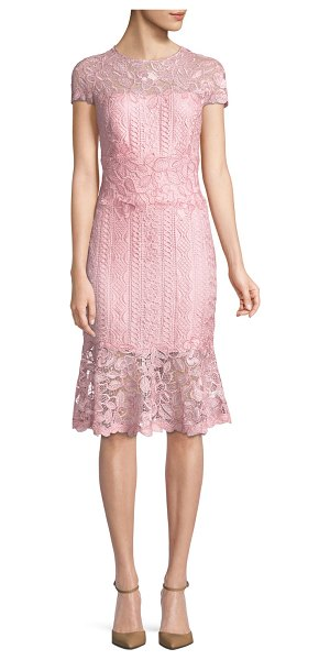"TADASHI SHOJI Embroidered Lace Cocktail Dress in rose quartz - Tadashi Shoji embroidered lace dress. Approx. 42""L down..."