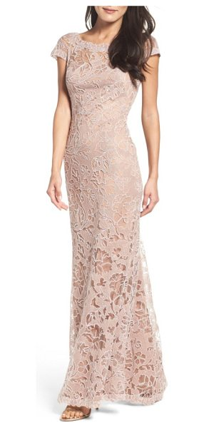 Tadashi Shoji embroidered lace gown in rose taupe - Corded embroidery in rich floral patterns gives texture...