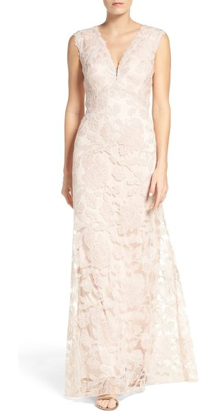 Tadashi Shoji embroidered lace gown in antique pink - Ornate floral lace on a gauzy mesh overlay enhances the...