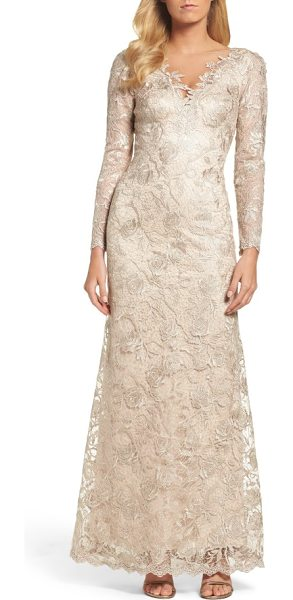 Tadashi Shoji embroidered lace gown in champagne - Corded embroidery in rich floral patterns gives texture...