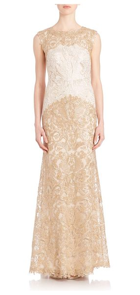 Tadashi Shoji embroidered lace gown in ivory gold - Embroidered gown with charming lace details. Bateau...