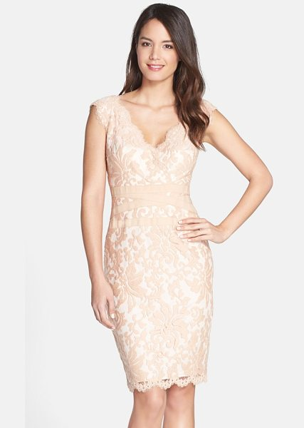 Tadashi Shoji embroidered lace sheath dress in primrose