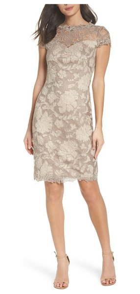 Tadashi Shoji embroidered lace sheath dress in sandcastle - This gossamer lace dress shimmers with metallic...