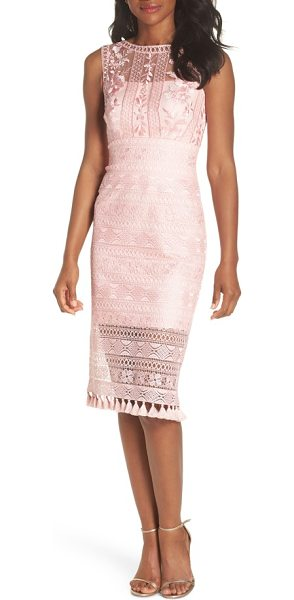 Tadashi Shoji embroidered lace sheath dress in rose quartz - Shimmering, intricate embroidery creates gorgeous floral...