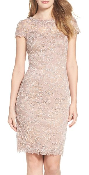 Tadashi Shoji embroidered lace sheath dress in rose taupe - This gossamer lace dress shimmers with metallic...