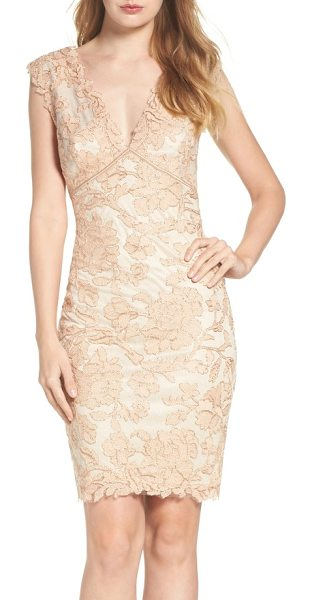 Tadashi Shoji embroidered lace sheath dress in peach blossom - Corded with metallic shimmer, a richly embroidered lace...