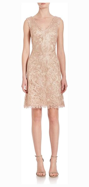 Tadashi Shoji embroidered lace dress in petal-gold - Exquisite ivory-embroidered tulle defines v-neck...