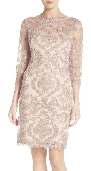 TADASHI SHOJI embroidered mesh sheath dress - Bring out your blushing beauty in this rosy, fine-mesh...