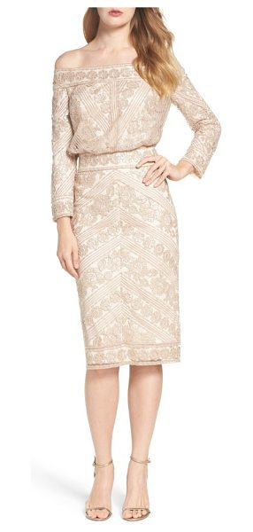 Tadashi Shoji embroidered off the shoulder blouson dress in champagne - Shimmering sequins illuminate the lacy texture of a...