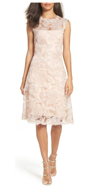 Tadashi Shoji fit & flare dress in antique pink - Corded embroidery over pastel lace builds up the classic...
