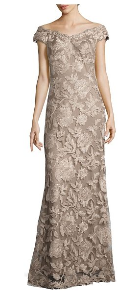 Tadashi Shoji floral embroidered off-the-shoulder gown in latte pumice - Alluring gown embellished with floral embroidery....