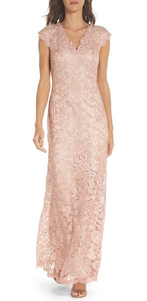 TADASHI SHOJI frankie lace gown - Timeless and captivating, this statuesque gown of floral...